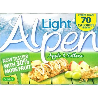 Alpen Light Sultana and Apple Cereal Bar 5 Pack 105g