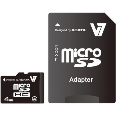 V7 4GB microSD Class 4 Memory Card With Adapter