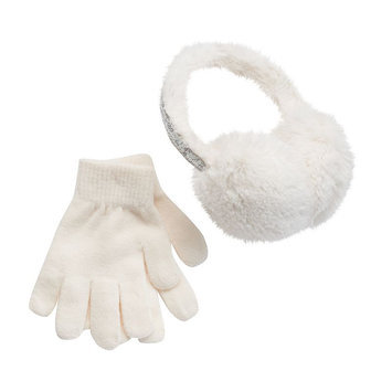 Girls 4-16 SO® Sequin Faux-Fur Earmuffs & Gloves Set, Girl's, White Oth
