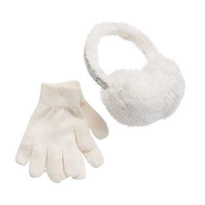 Girls 4-16 SO® Sequin Faux-Fur Earmuffs & Gloves Set, Girl's, White Oth