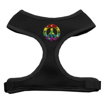 Mirage Pet Products 73-26 LGBK Rainbow Peace Sign Chipper Black Harness Large