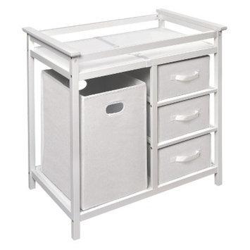 Badger Basket Modern Changing Table with Hamper - White
