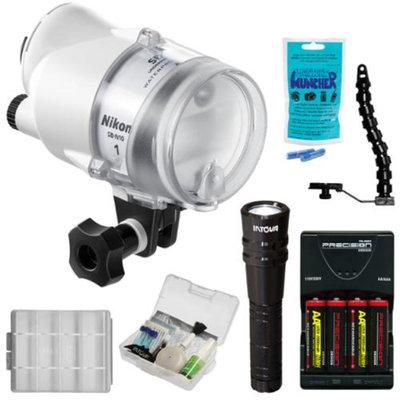 Nikon SB-N10 Underwater Speedlight Flash with LED Torch + Bracket + Batteries & Charger + Kit for Nikon 1 J & S Series Digital Cameras & WP-N1, WP-N2, WP-N3 Underwater Housings