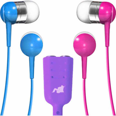 Maxell Earbuds with Splitter - Blue/Pink