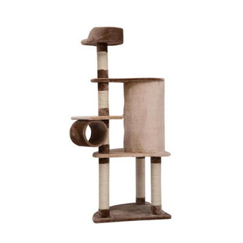 Pawhut Two Story Cat Tree Scratching Post Condo Furniture, 60, Brown