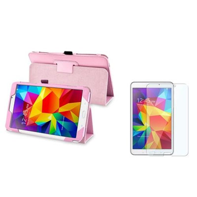 Insten INSTEN Pink Leather Stand Case+Protector For Samsung Galaxy Tab 4 8.0 8-inch SM-T330NU Tablet