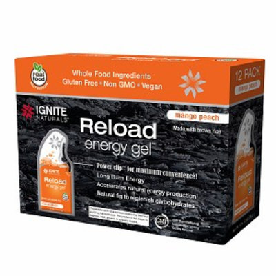 Ignite Naturals Reload Energy Gel Packs, Mango Peach, 12 ea
