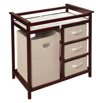 Badger Basket Modern Changing Table with Hamper - Cherry