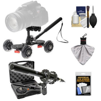 Vidpro SK-22 Professional Skater Dolly for Digital SLR Cameras & Video Camcorders with Vidpro XM-55 13-Piece Microphone Set + Accessory Kit