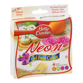 Betty Crocker Writing Icing Neon Gel Food Colors - 4 CT