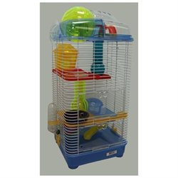 YML H3030BL 3 Level Clear Plastic Hamster-Mice Cage in Blue