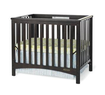 Foundations Worldwide Child Craft London Jamocha Euro Mini 2-in-1 Convertible Crib with Mattress