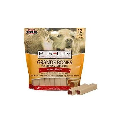 St Jon Lab/sergeant Pet Pur Luv Grande Bones Bacon 12 Pack