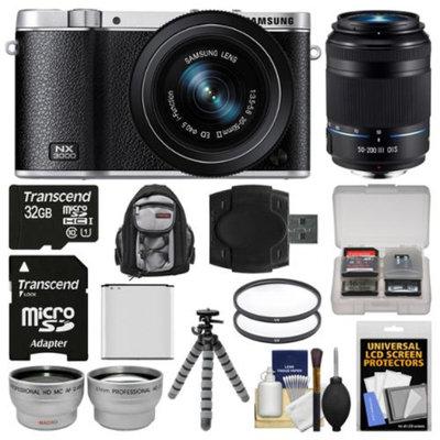 Samsung NX3000 Smart Wi-Fi Digital Camera with 20-50mm Lens & Flash (Black) with 50-200mm Lens + 32GB Card + Backpack + Battery + Flex Tripod Kit