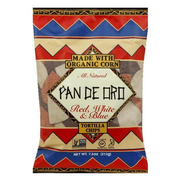 Pan De Oro Red White Blue Tortilla Chips Case of 12 bags 7.5 oz per bag