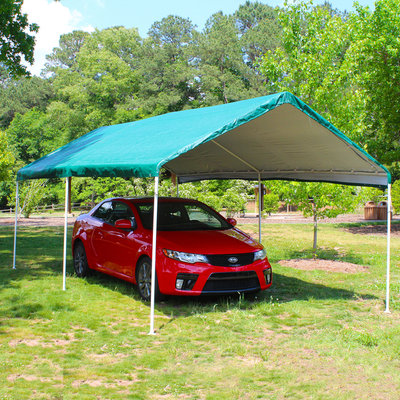 King Canopy Storage Building. 10 ft. W x 20 ft. D 6-Leg Universal Canopy in Green