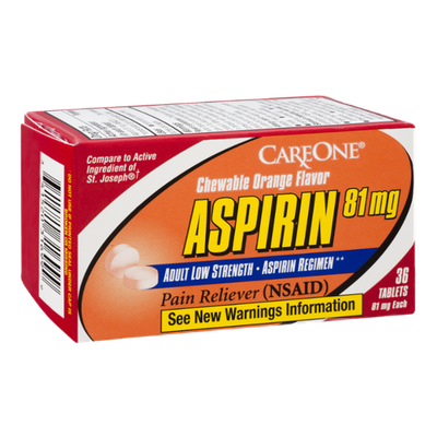 CareOne Aspirin 81 mg Adult Low Strength Chewable Orange Flavor Pain Reliever - 36 CT