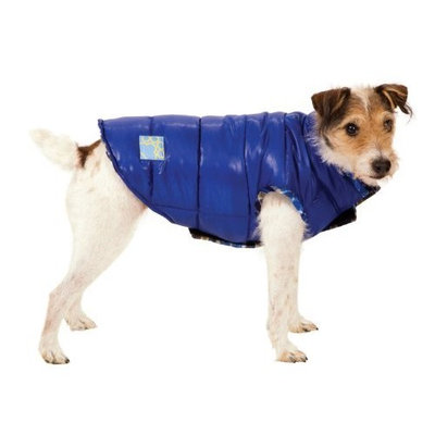 Fashion Pet Blue Reversible Puffy Dog Vest Extra Small