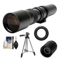 Samyang 500mm f/8.0 Telephoto Lens (T Mount) with 2x Teleconverter (=1000mm) + Tripod + Accessory Kit for Nikon 1 J1, J2 & V1 Digital Cameras