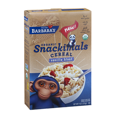 Barbara's Organic Snackimals Cereal Vanilla Blast