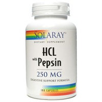 Solaray HCL with Pepsin - 250 mg - 180 Capsules