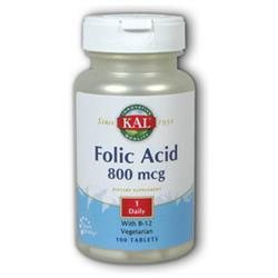 Kal Folic Acid - 800 mcg - 100 Tablets