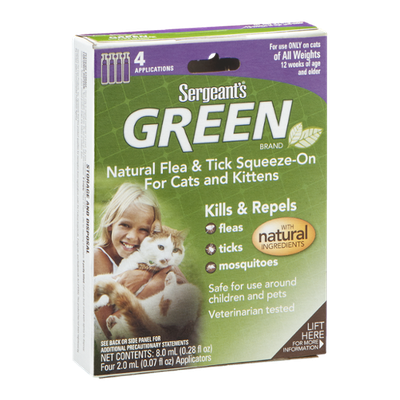 Sergeant's Green Brand Natural Flea & Tick Squeeze-On Applicators For Cats and Kittens - 4 CT