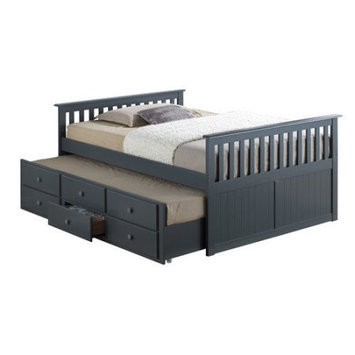 Stork Craft Kids Bed: Broyhill Kids Marco Island Captain's Bed with Trundle Bed and Drawers - Espresso (Full), Grey