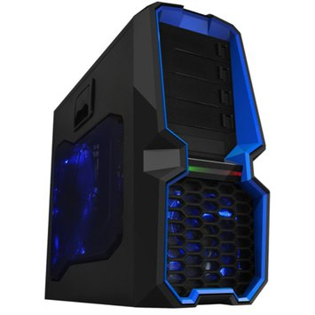 Raid Max Raidmax Blackstorm SECC Steel/Plastic ATX Mid Tower Computer Case, Black/Blue