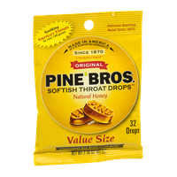 Pine Bros. Softish Throat Drops Natural Honey - 32 CT