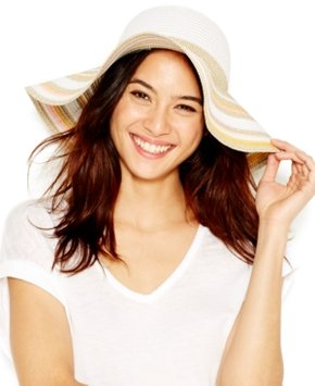 BCBGeneration Mixed Stripe Floppy Hat