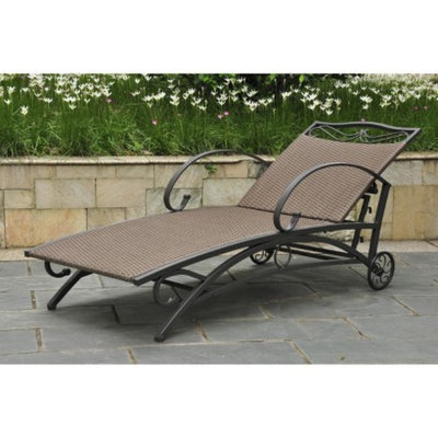 International Caravan Valencia Wicker/Iron Patio Chaise Lounge - Antique Brown