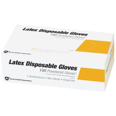 Acme Lightly Powdered Disposable Latex Gloves, Box of 100, Medium