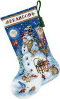 Dimensions Gold Collection Snowman and Friends Stocking Counted Cross Stitch Kit