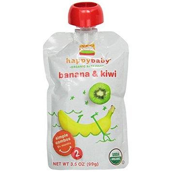 Happybaby Happy Baby Organic Baby Food 2 Simple Combos, Banana & Kiwi, 3.5 Ounce (Pack of 16)
