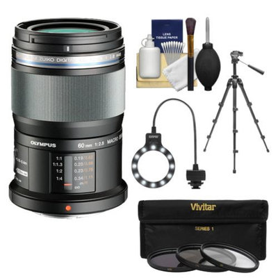 Olympus M.Zuiko 60mm f/2.8 MSC ED Macro Digital Lens (Black) with Tripod + 3 UV/ND8/PL Filters + Macro Ring Light + Accessory Kit for Pen E-PL2, E-PL3, E-PL5, E-PM1, E-PM2, OM-D E-M5 Digital Camera