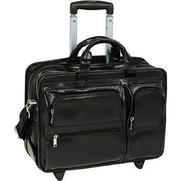 Mcklein McKlein 88445 17 inch Clinton Leather 2-in-1 Removable-Wheeled Laptop Case