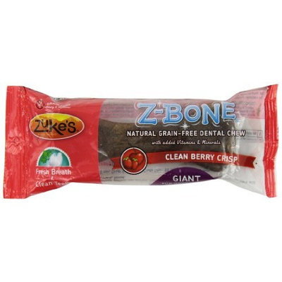 Zuke's Z-Bones Edible Grain-Free Dental Chews, Clean Berry Crisp, Giant 3.88-Ounce, Individually Wrapped Bone