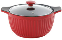 Gibson CP 3qt Ribbed Casserole Red