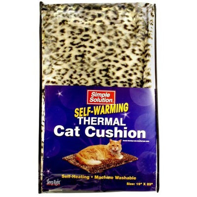 Bramton Simple Solution Self-Warming Thermal Cat Cushion, 19 Inch by 23 Inch, Leopard Print, Beige