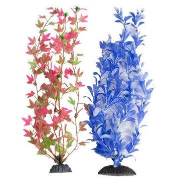 Aquatop Multi-Colored Aquarium Plants 2 Pack - Green/Pink & Blue/Whit