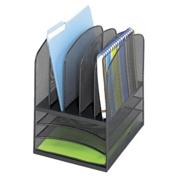 Safco Onyx Mesh Desk Organizer with Eight Sections - Black