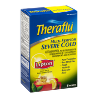 Theraflu Multi-Symptom Severe Cold Packets Lipton Green Tea & Honey Lemon Flavors - 6 CT