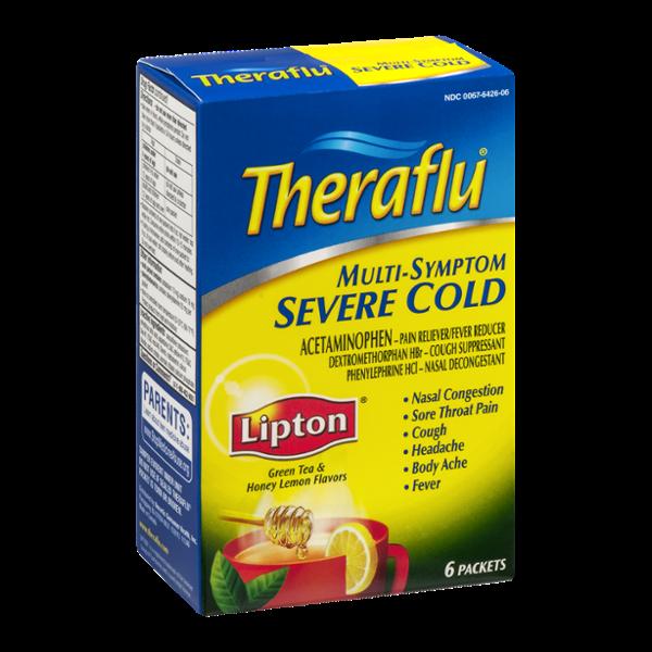 Theraflu Multi-Symptom Severe Cold Packets Lipton Green Tea & Honey Lemon Flavors - 6 CT