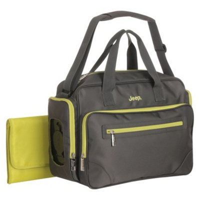 Poly Twill Duffle Diaper Bag - Gray/Green by Jeep