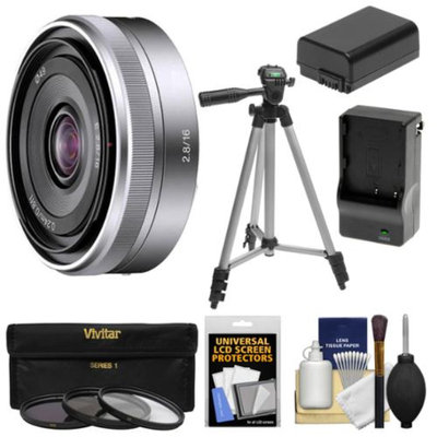 Sony Alpha E-Mount E 16mm f/2.8 Lens with 3 Filters + Tripod + NP-FW50 Battery & Charger + Kit for A7, A7R, A7S, A3000, A5000, A5100, A6000 Cameras