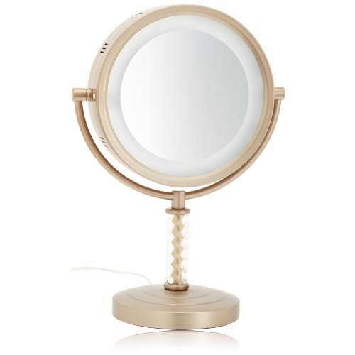 Jerdon HL856BC 8-Inch Halo Lighted Vanity Mirror with 6x Magnification, Brushed Brass Finish