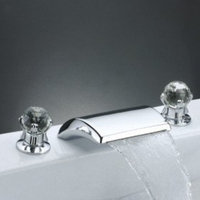 MAX Contemporary Widespread Bathroom Sink Faucet (Crystal Handles)