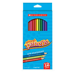Scholastic Color Pencils, 3.3mm, Assorted Colors, Pack Of 12