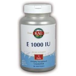 KAL Vitamin E 1000 IU - 90 Softgels - Vitamin E D'Alpha